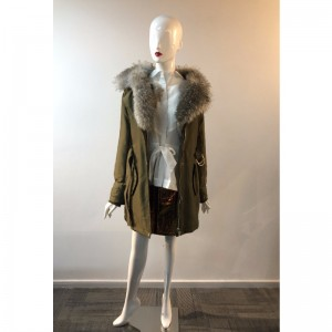 سيدات خاكي FUR-COLLAR COAT RLWPC0033